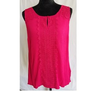 Westport Sleeveless Magenta Tunic With Lace Detail